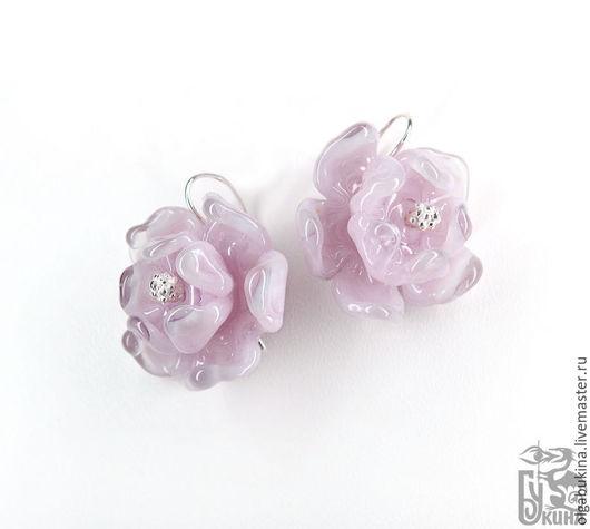 Серьги ручной работы. Ярмарка Мастеров - ручная работа. Купить Серьги с цветами Теплый сиреневый. Лэмпворк серебро Фиолетовый розовый. Handmade.