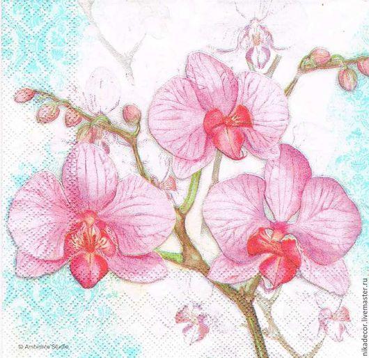 Декупаж и роспись ручной работы. Ярмарка Мастеров - ручная работа. Купить Орхидея на голубом (13307701) 33х33 салфетка для декупажа. Handmade.