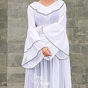 Одежда ручной работы. Ярмарка Мастеров - ручная работа Шифоновое белое длинное макси платье с оборкой и длинным рукавом. Handmade.