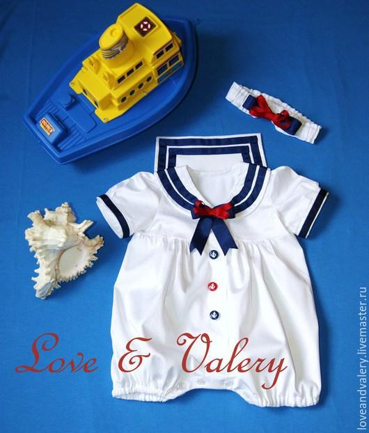 """Одежда для девочек, ручной работы. Ярмарка Мастеров - ручная работа. Купить Костюмчик """"Маленькая морячка"""" (бодик). Handmade. Белый, морячок"""