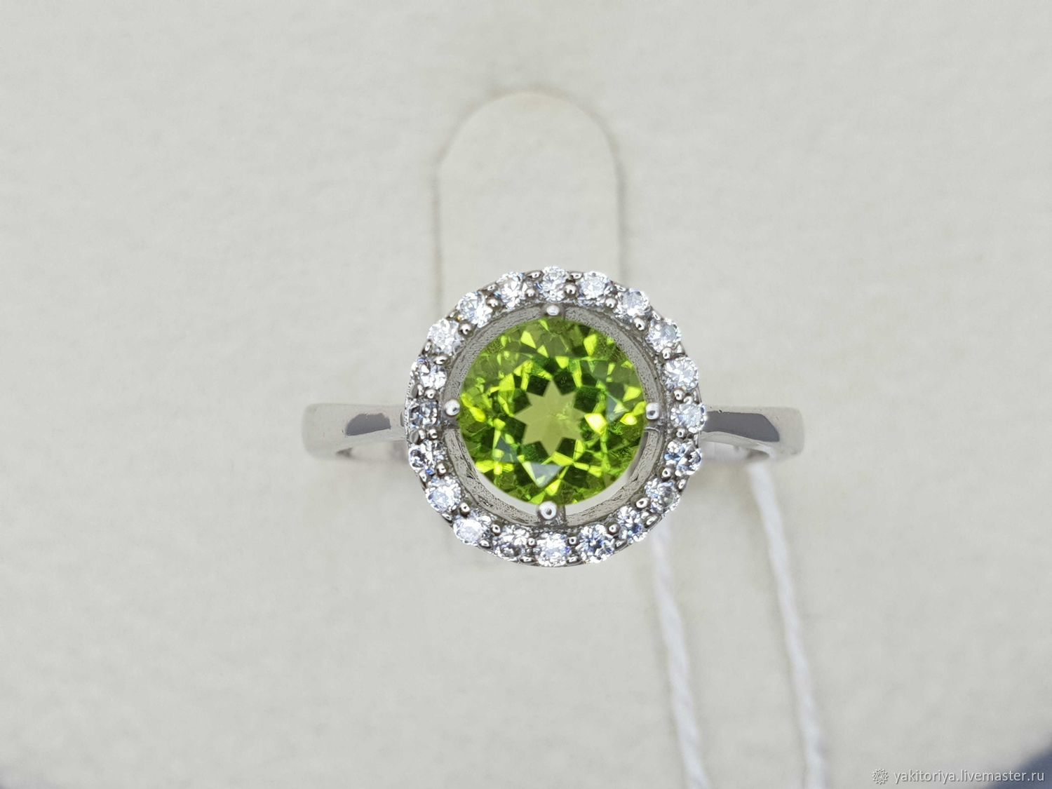 Silver ring with 6 mm chrysolite and cubic zirconia, Rings, Moscow,  Фото №1