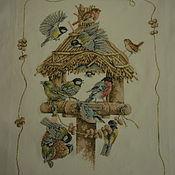 Картины и панно ручной работы. Ярмарка Мастеров - ручная работа Вышивка крестом Кормушка для птиц ( Birdhouse ). Handmade.