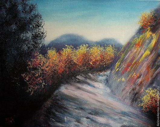 Пейзаж ручной работы. Ярмарка Мастеров - ручная работа. Купить Пейзаж Осенняя дорога в горах. Handmade. Дорога, осень