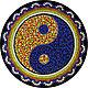 Мандала Инь-Ян ручной работы. Декоративная тарелка. Handmade. Magic of dots.