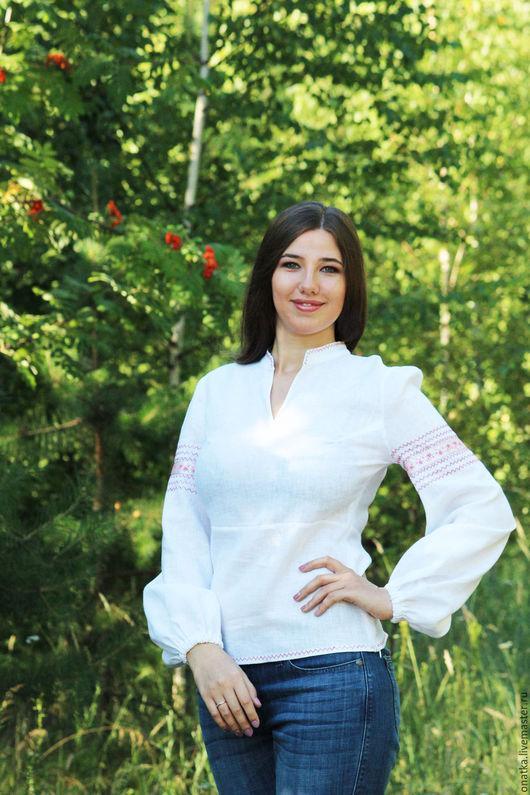 """Этническая одежда ручной работы. Ярмарка Мастеров - ручная работа. Купить Блуза """"Горожанка"""" льняная. Handmade. Белый, этно, рубашка"""