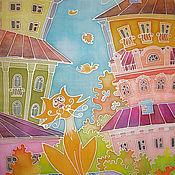 """Картины и панно ручной работы. Ярмарка Мастеров - ручная работа """"Кот и город"""" панно. Handmade."""