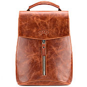 "Сумки и аксессуары handmade. Livemaster - original item Женский кожаный рюкзак ""Ассоль"" (рыжий антик). Handmade."