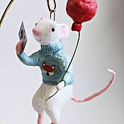 Tree handmade. Livemaster - original item Rats with a ball and a postcard-cotton toy. Handmade.