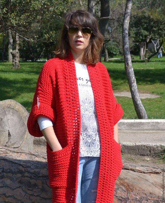 """Кофты и свитера ручной работы. Ярмарка Мастеров - ручная работа. Купить Вязаный кардиган """"Любимый"""". Handmade. Ярко-красный"""
