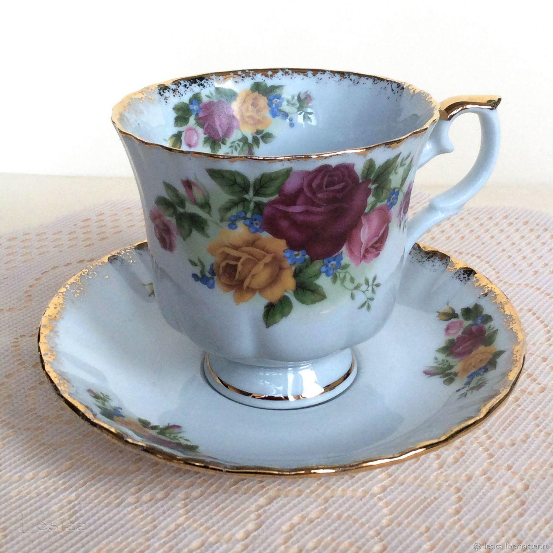 A couple of tea Rose Vista Alegre Portugal, Vintage mugs, Ramenskoye,  Фото №1