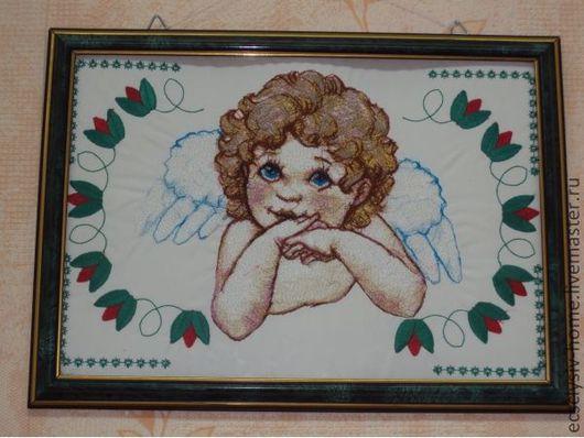 Животные ручной работы. Ярмарка Мастеров - ручная работа. Купить Мой милый ангел. Handmade. Картинка, вышитая картинка