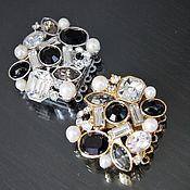 Замочек ювелирный, с кристаллами и жемчугом на 5 нитей,2 покрытия