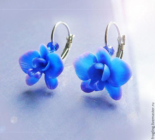 """Серьги ручной работы. Ярмарка Мастеров - ручная работа. Купить """"Орхидея"""" серьги. Handmade. Тёмно-синий, серьги, цветы, подарок"""
