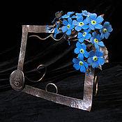 Медная рамка для фото, с коваными незабудками