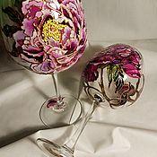 """Бокалы ручной работы. Ярмарка Мастеров - ручная работа Бокалы для вина """"Пионы"""" (2 бокала) витражные/свадебные. Handmade."""