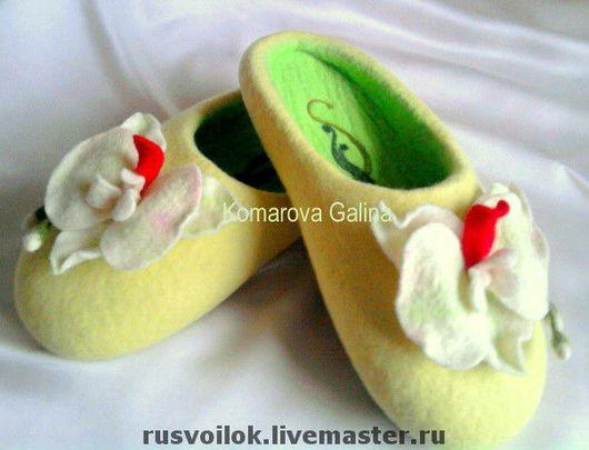 Handmade Shoes handmade. Livemaster - handmade. Buy ladies Slippers 'Maria'.Felt, slippers, hand work, lemon color