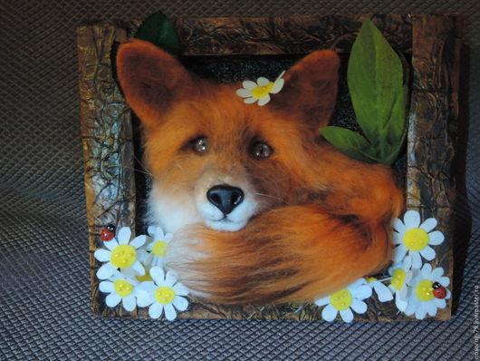 """Животные ручной работы. Ярмарка Мастеров - ручная работа. Купить Панно """"Лиса в ромашках"""". Handmade. Лиса, лиса сувенир, рыжий"""