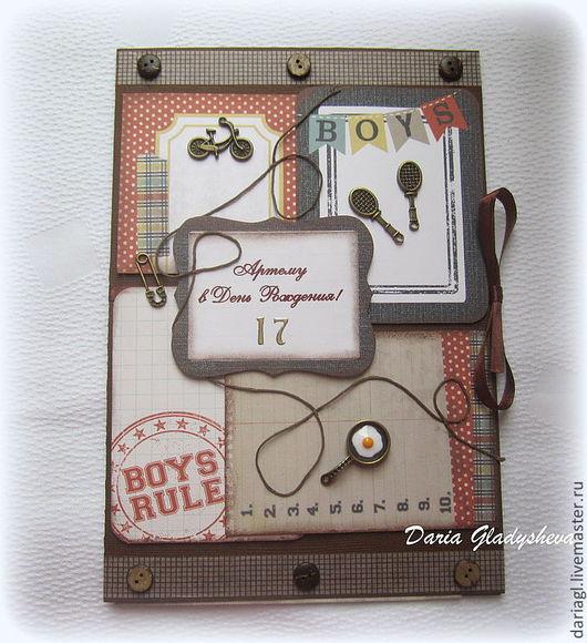 """Открытки для мужчин, ручной работы. Ярмарка Мастеров - ручная работа. Купить Открытка молодому человеку на 17 лет """"Boys"""". Handmade."""
