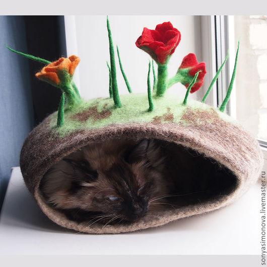 Аксессуары для кошек, ручной работы. Ярмарка Мастеров - ручная работа. Купить Кошачья норка. Handmade. Домик норка для кошки