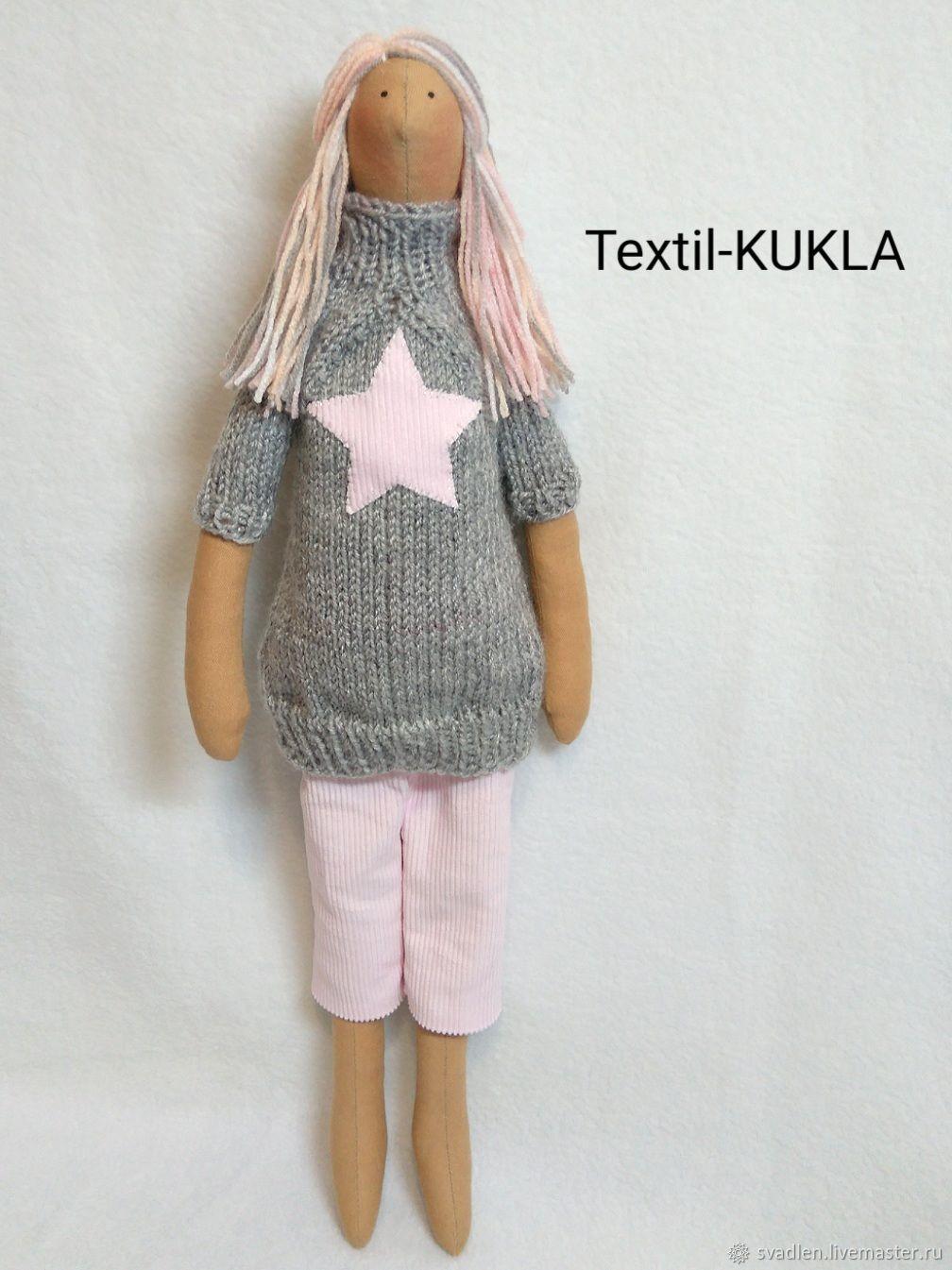 Стильная кукла тильда - розовые волосы)) - текстильные куклы, Куклы Тильда, Брянск,  Фото №1