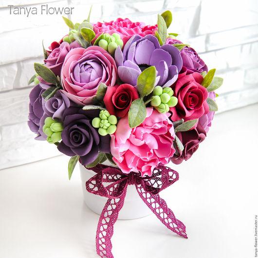 """Интерьерные композиции ручной работы. Ярмарка Мастеров - ручная работа. Купить Букет с розами и пионами """"Бордо"""". Handmade. Цветы"""