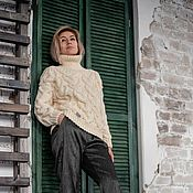handmade. Livemaster - original item Jerseys: Women`s sweater large knit heart of milk color oversize. Handmade.