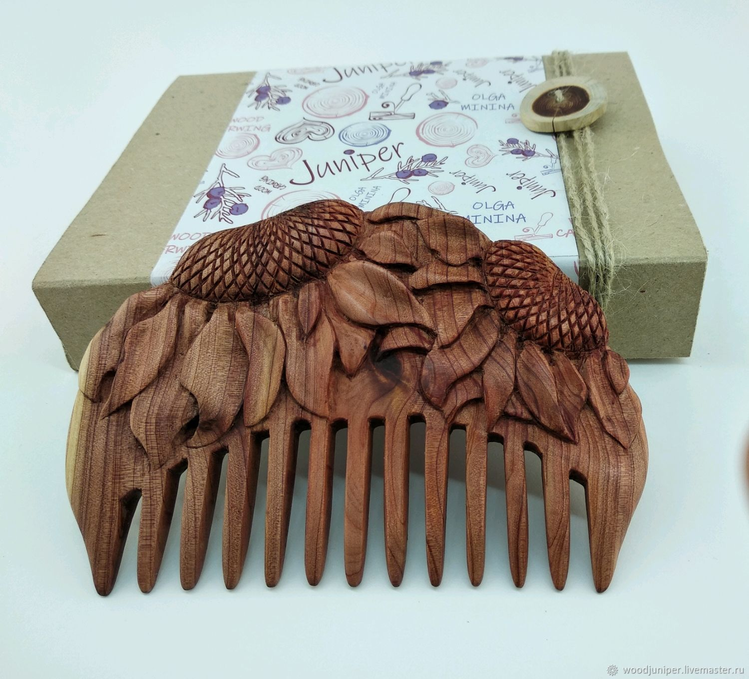 "Hand Carved Juniper Wood Hair Comb ""Children of the sun"", Combs, Sochi,  Фото №1"