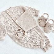 Одежда детская handmade. Livemaster - original item Overalls, a cap and booties for a newborn. 100% merino. Handmade.