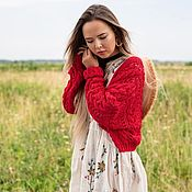 Одежда handmade. Livemaster - original item cardigans: Lightweight cardigan made of cotton in the size of an oversize red color. Handmade.