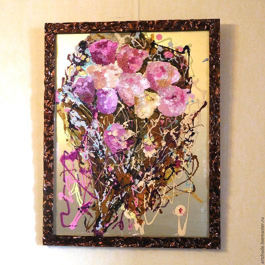 Картины цветов ручной работы. Ярмарка Мастеров - ручная работа. Купить Сиреневые розы. Handmade. Бледно-розовый, картина