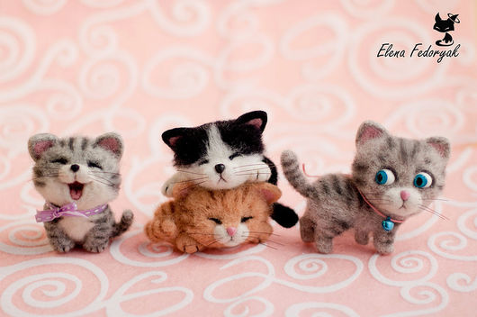 Броши ручной работы. Ярмарка Мастеров - ручная работа. Купить кото-брошки (набор). Handmade. Комбинированный, натуральная шерсть