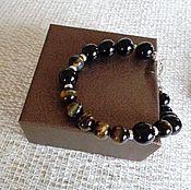 Украшения handmade. Livemaster - original item Men`s bracelet made of onyx,Hawkeye and silver 925. Handmade.