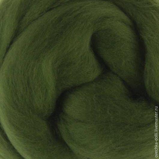 Меринос шерсть18 мкм, Италия, Extra fine, 50 гр. цвет - Плющ (ivy) зеленый