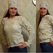 Одежда ручной работы. Ярмарка Мастеров - ручная работа ажурный пуловер и шапочка. Handmade.