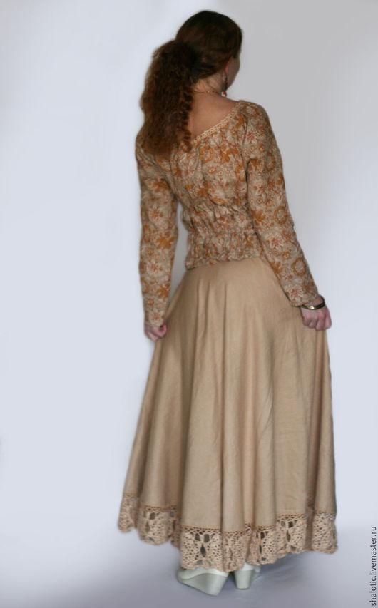 Льняная юбка с кружевом, юбка в пол ручной работы, автор Юлия Льняная сказка