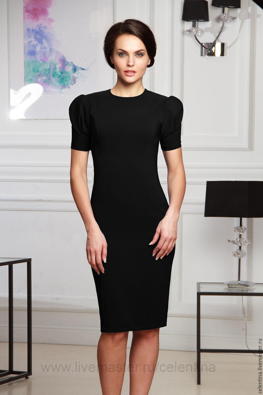 Платье футляр черное короткое