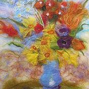 """Картины и панно ручной работы. Ярмарка Мастеров - ручная работа Картина """"Цветы в голубой вазе"""". Handmade."""