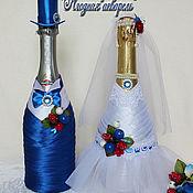 """Свадебный салон ручной работы. Ярмарка Мастеров - ручная работа Свадебные бутылки, коллекция """"Ягодная акварель"""". Handmade."""
