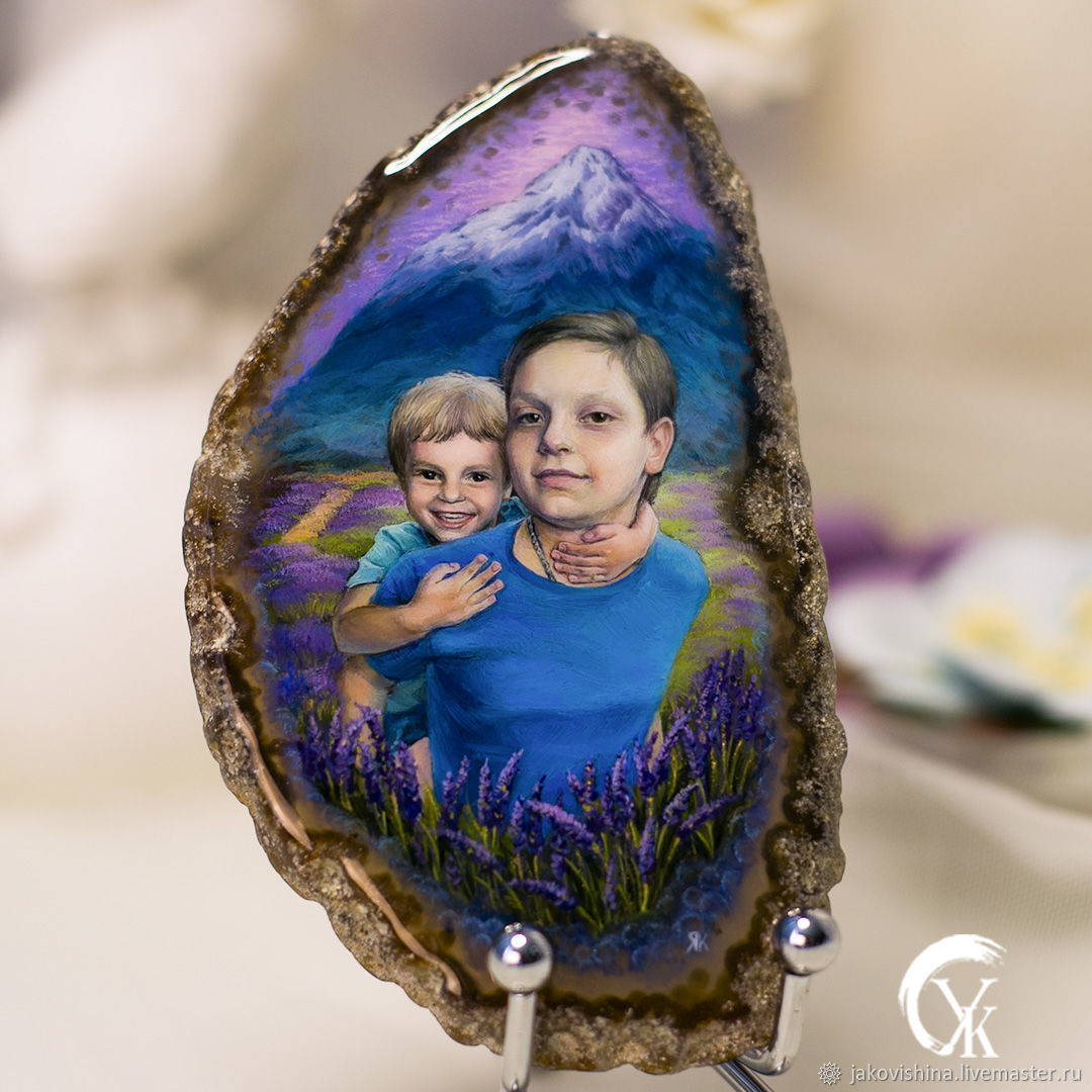 Panel 'Provence' portrait by photo on agate in the technique of lacquer miniature, Pictures, Moscow,  Фото №1