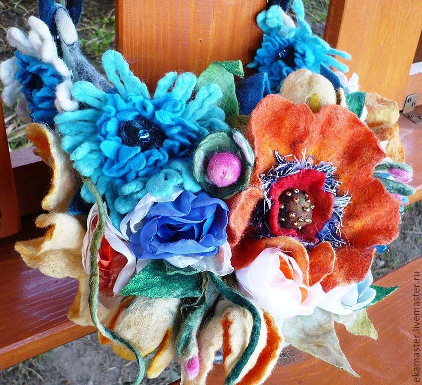 Bag.Felted bag 'colors of summer. Orange poppies', Classic Bag, Ekaterinburg,  Фото №1