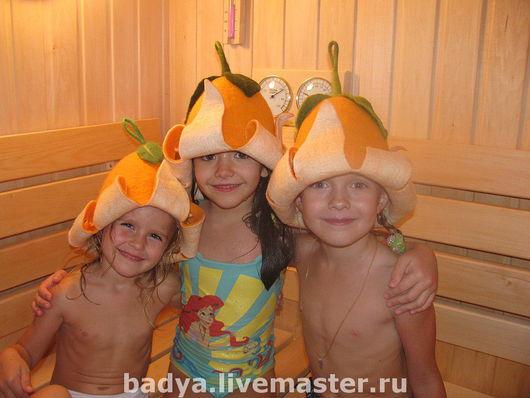Банные принадлежности ручной работы. Ярмарка Мастеров - ручная работа. Купить Апельсиновые шапки для бани, сауны. Handmade. Шапка для бани