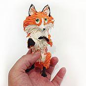 """Куклы и игрушки ручной работы. Ярмарка Мастеров - ручная работа фигурка """"рыжая лисичка на задних лапах"""" (лиса игрушка, лиса статуэтка). Handmade."""
