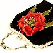 Сумки и аксессуары handmade. Livemaster - original item Black women`s bag with flower on the clasp red poppy suede. Handmade.