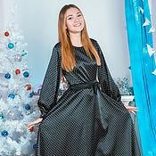 Одежда handmade. Livemaster - original item Dress black white polka dots, satin, fancy,
