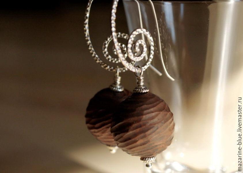 'Coffee praline' earrings made of ceramic, Earrings, Krasnodar,  Фото №1