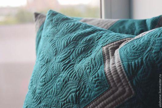 Текстиль, ковры ручной работы. Ярмарка Мастеров - ручная работа. Купить Морская волна (набор из подушек и ланчматов). Handmade. бирюзовый