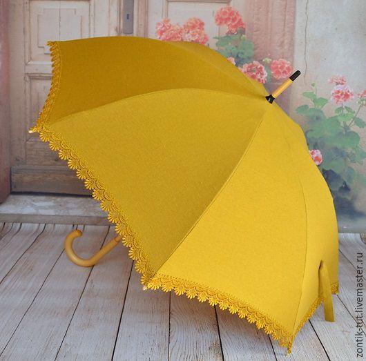 """Зонты ручной работы. Ярмарка Мастеров - ручная работа. Купить Зонт от солнца """"Горчичный мед"""". Handmade. Однотонный, защита, льняной"""