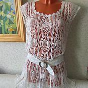 Одежда handmade. Livemaster - original item Beach tunic White pineapple. Handmade.