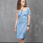 Одежда handmade. Livemaster - original item П_023 sheath Dress-asymmetrical mini back Cover, color blue. Handmade.