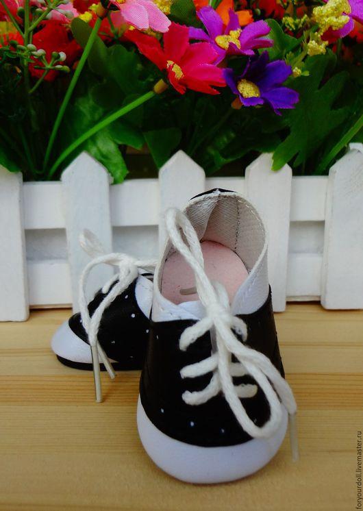 Куклы и игрушки ручной работы. Ярмарка Мастеров - ручная работа. Купить Ботиночки для куклы на шнурках. Handmade. Чёрно-белый